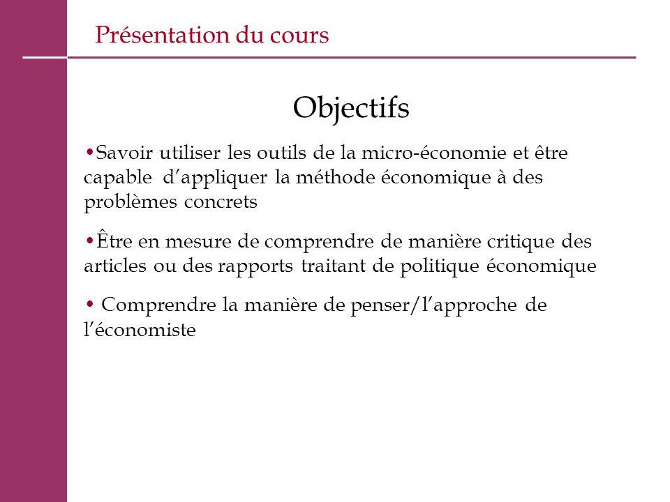 Objectifs Présentation du cours