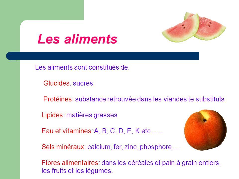 Les aliments Les aliments sont constitués de: Glucides: sucres