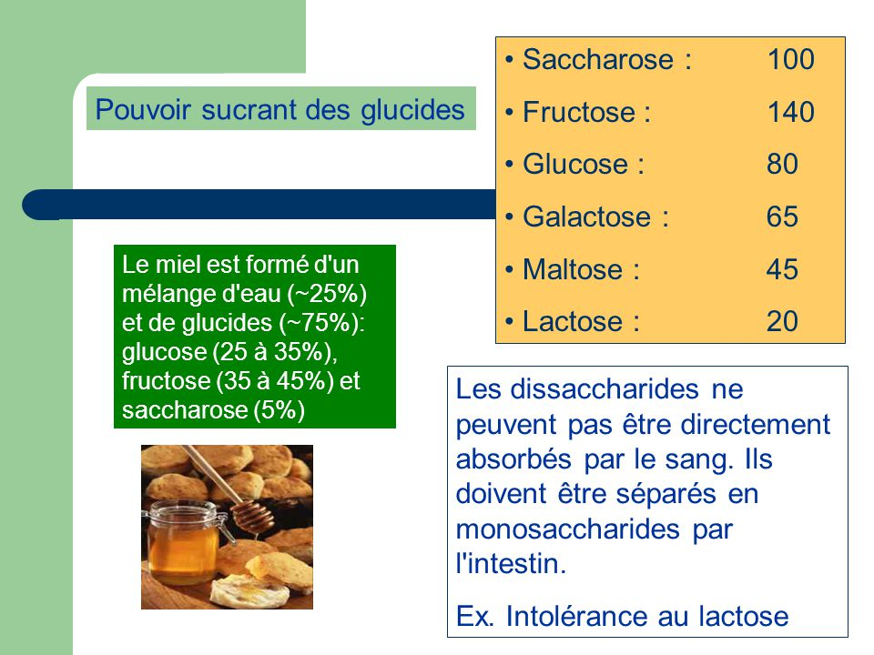 Pouvoir sucrant des glucides
