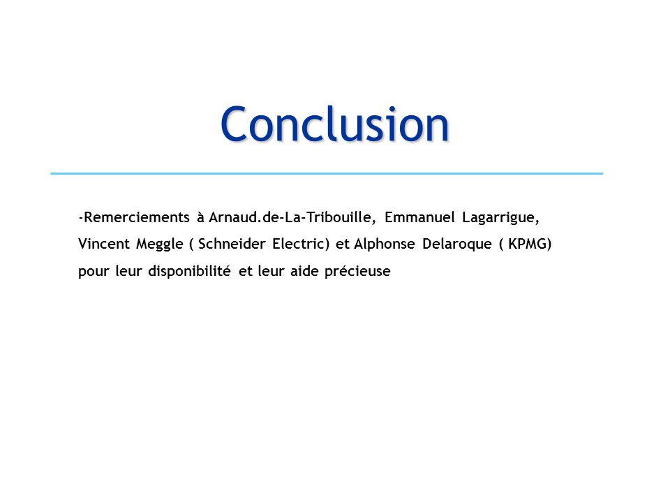 Conclusion Remerciements à Arnaud.de-La-Tribouille, Emmanuel Lagarrigue, Vincent Meggle ( Schneider Electric) et Alphonse Delaroque ( KPMG)