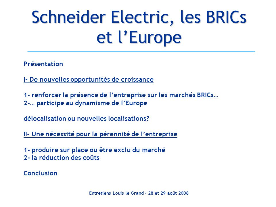 Schneider Electric, les BRICs et l'Europe