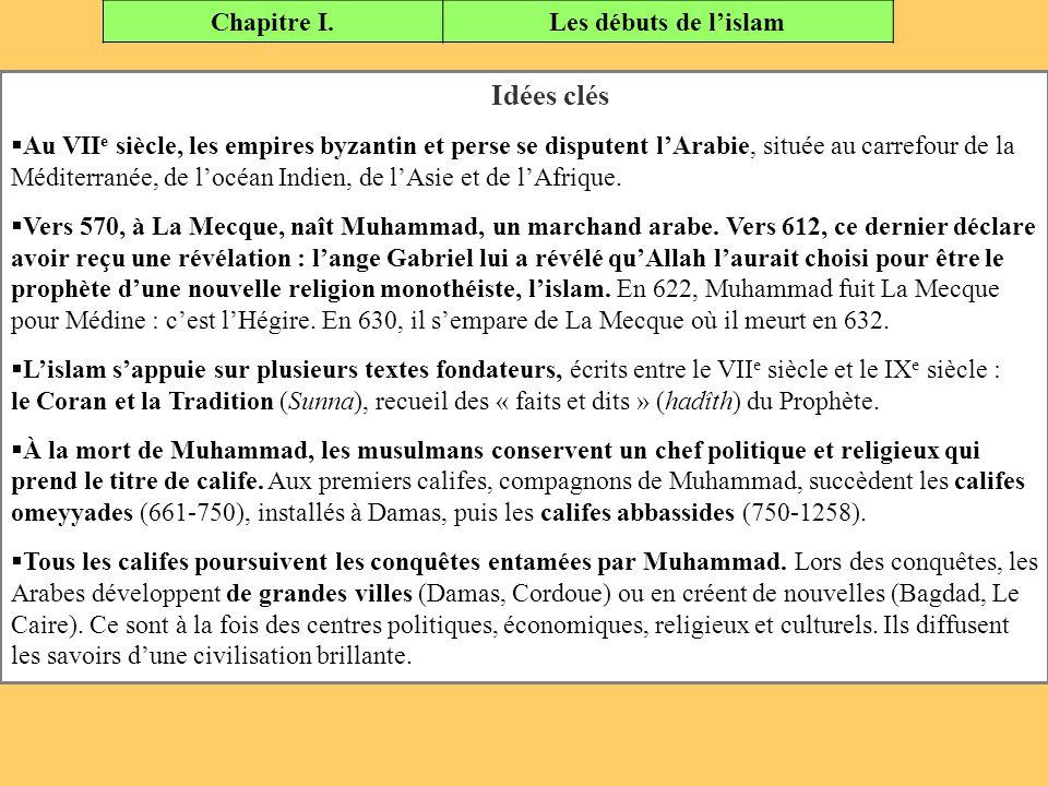 Idées clés Chapitre I. Les débuts de l'islam
