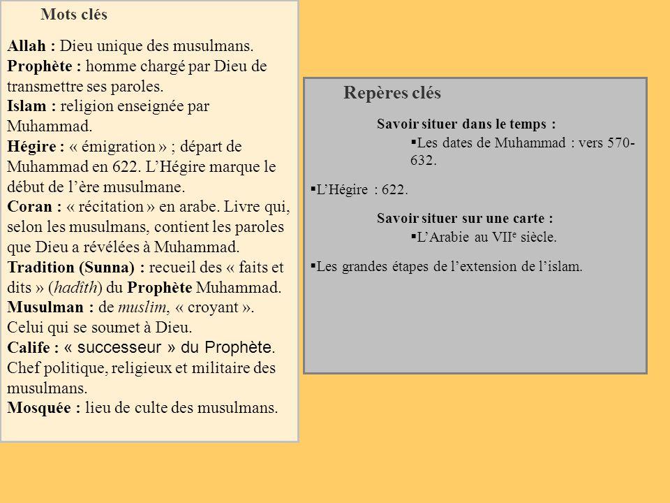 Repères clés Mots clés Allah : Dieu unique des musulmans.