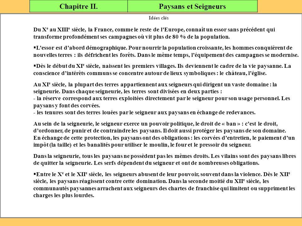 Chapitre II. Paysans et Seigneurs