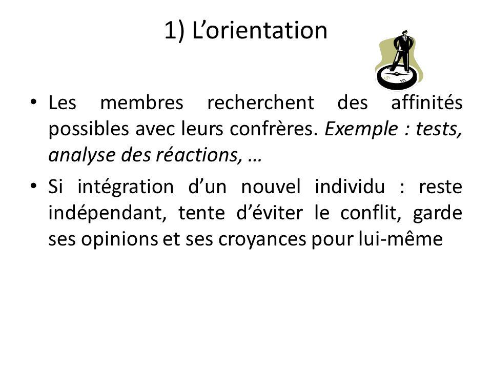 1) L'orientation Les membres recherchent des affinités possibles avec leurs confrères. Exemple : tests, analyse des réactions, …