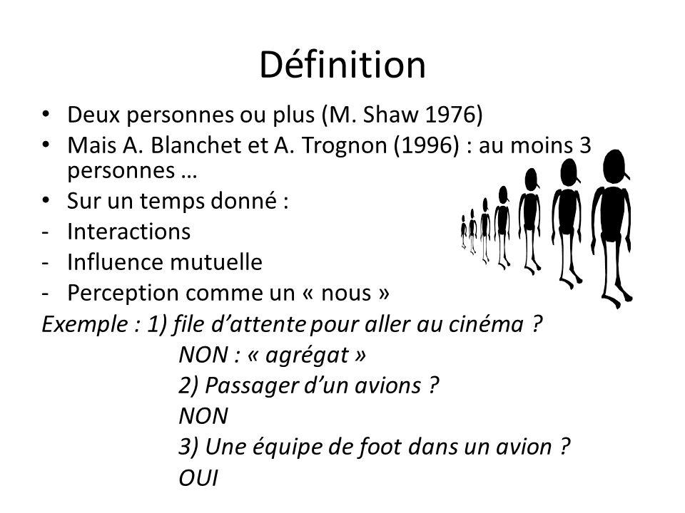 Définition Deux personnes ou plus (M. Shaw 1976)