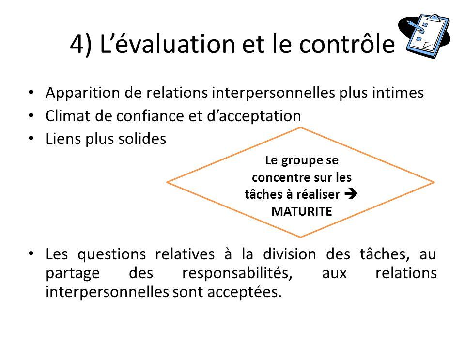 4) L'évaluation et le contrôle