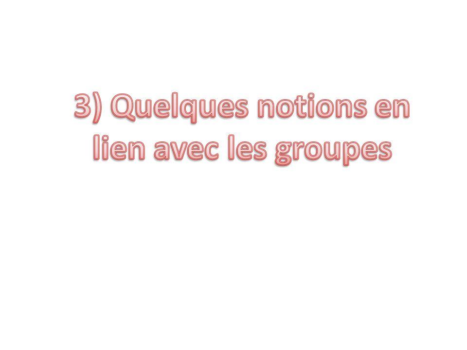 3) Quelques notions en lien avec les groupes