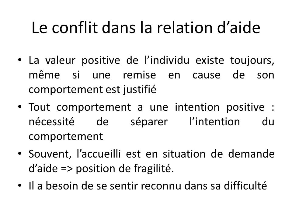 Le conflit dans la relation d'aide
