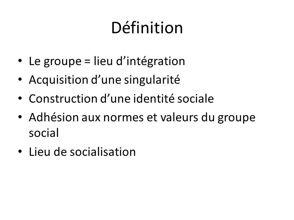 Définition Le groupe = lieu d'intégration