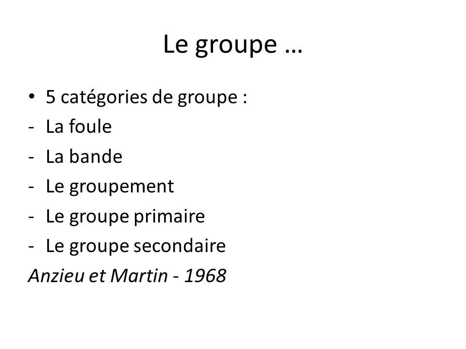 Le groupe … 5 catégories de groupe : La foule La bande Le groupement