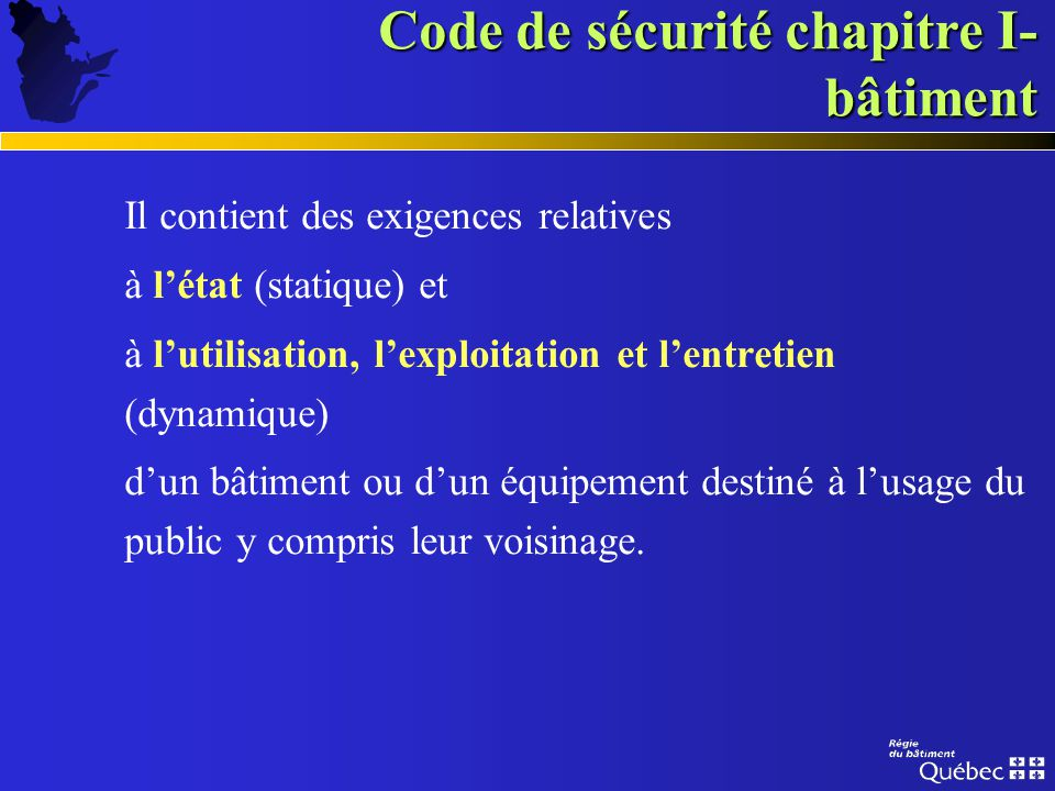 Code de sécurité chapitre I-bâtiment