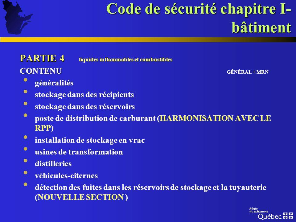 Code de sécurité chapitre I- bâtiment