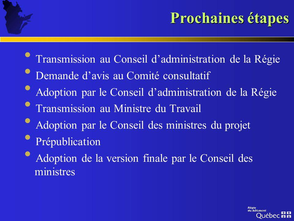 Prochaines étapes Transmission au Conseil d'administration de la Régie