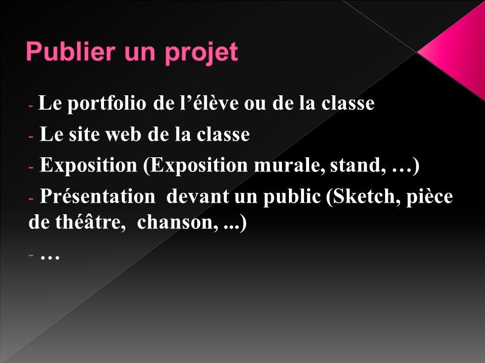 Publier un projet Le site web de la classe