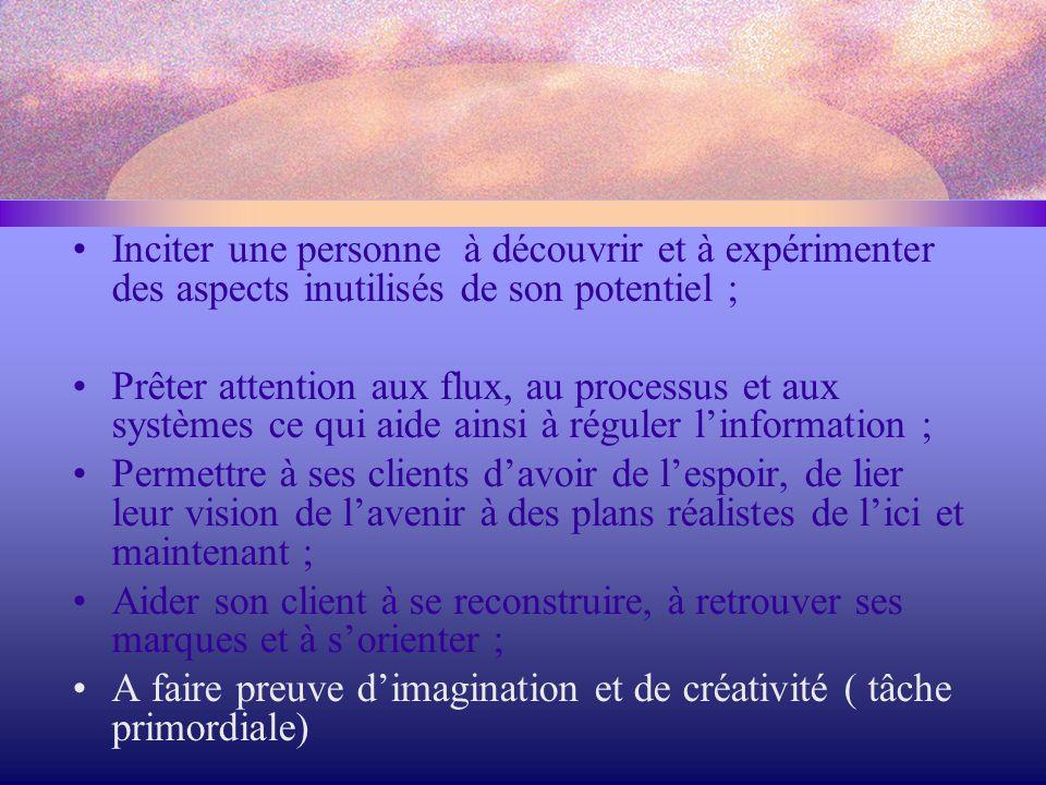 Inciter une personne à découvrir et à expérimenter des aspects inutilisés de son potentiel ;