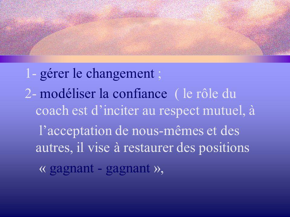 1- gérer le changement ; 2- modéliser la confiance ( le rôle du coach est d'inciter au respect mutuel, à.