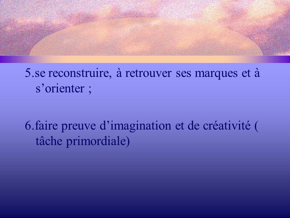 5.se reconstruire, à retrouver ses marques et à s'orienter ;