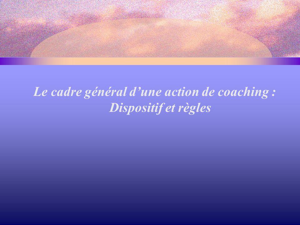Le cadre général d'une action de coaching : Dispositif et règles