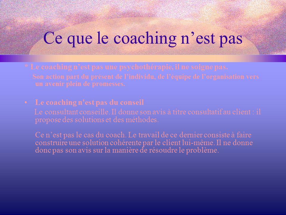 Ce que le coaching n'est pas