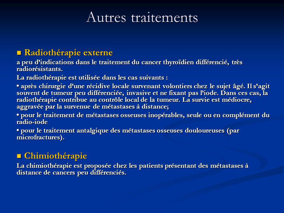 Autres traitements Radiothérapie externe Chimiothérapie