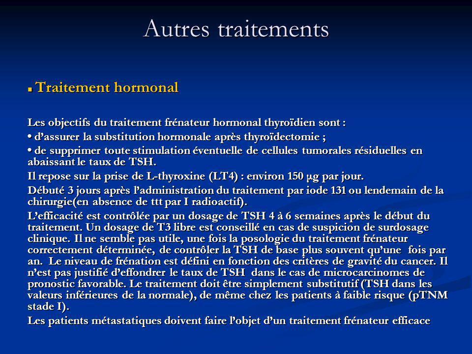 Autres traitements Traitement hormonal. Les objectifs du traitement frénateur hormonal thyroïdien sont :