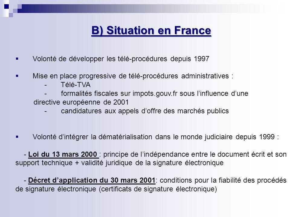 B) Situation en France Volonté de développer les télé-procédures depuis 1997. Mise en place progressive de télé-procédures administratives :