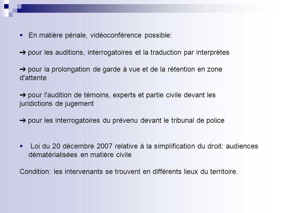 En matière pénale, vidéoconférence possible: