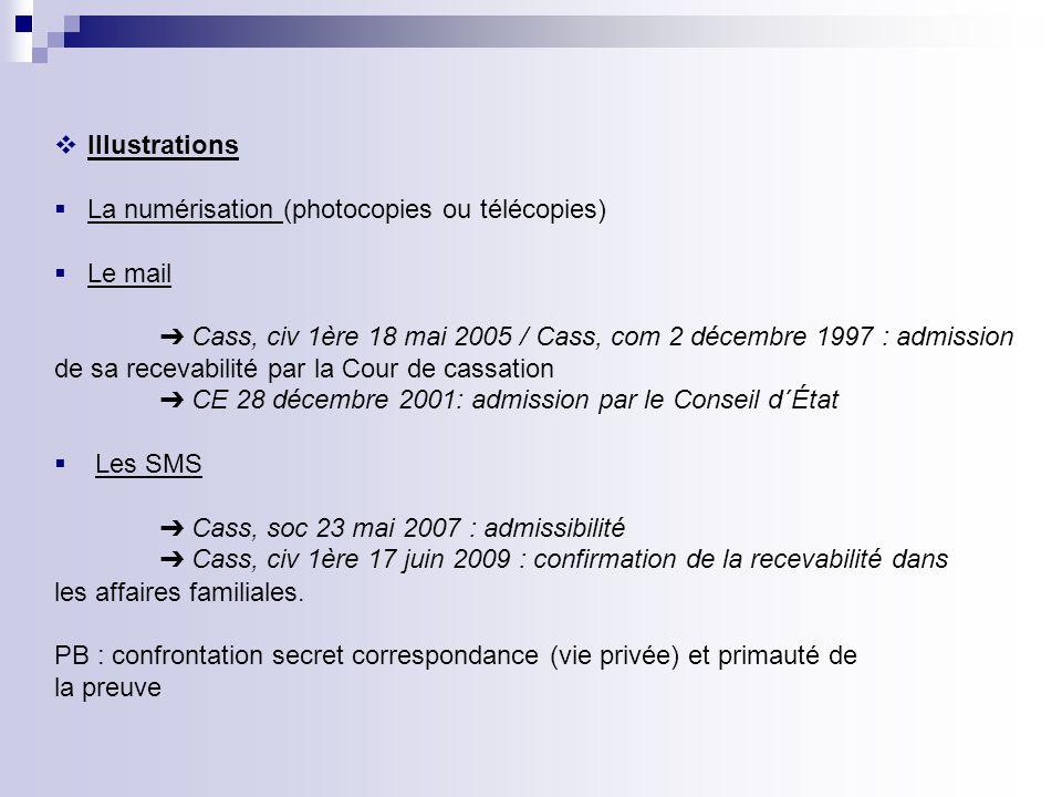 Illustrations La numérisation (photocopies ou télécopies) Le mail. ➔ Cass, civ 1ère 18 mai 2005 / Cass, com 2 décembre 1997 : admission.
