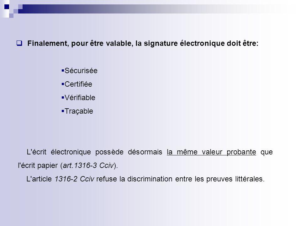 Finalement, pour être valable, la signature électronique doit être: