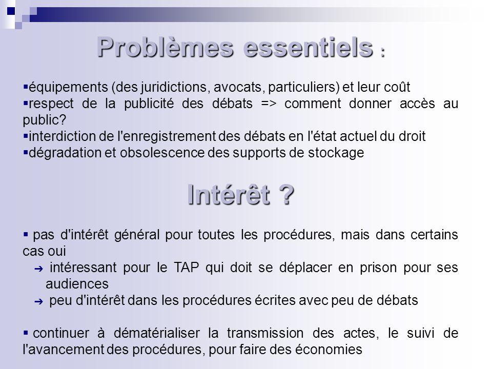 Problèmes essentiels :