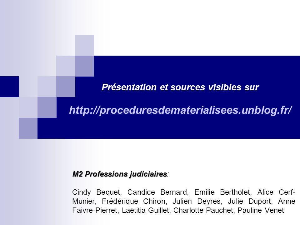 Présentation et sources visibles sur http://proceduresdematerialisees
