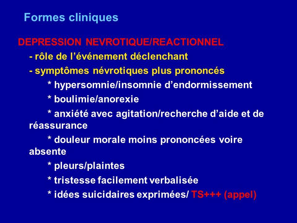 Formes cliniques DEPRESSION NEVROTIQUE/REACTIONNEL