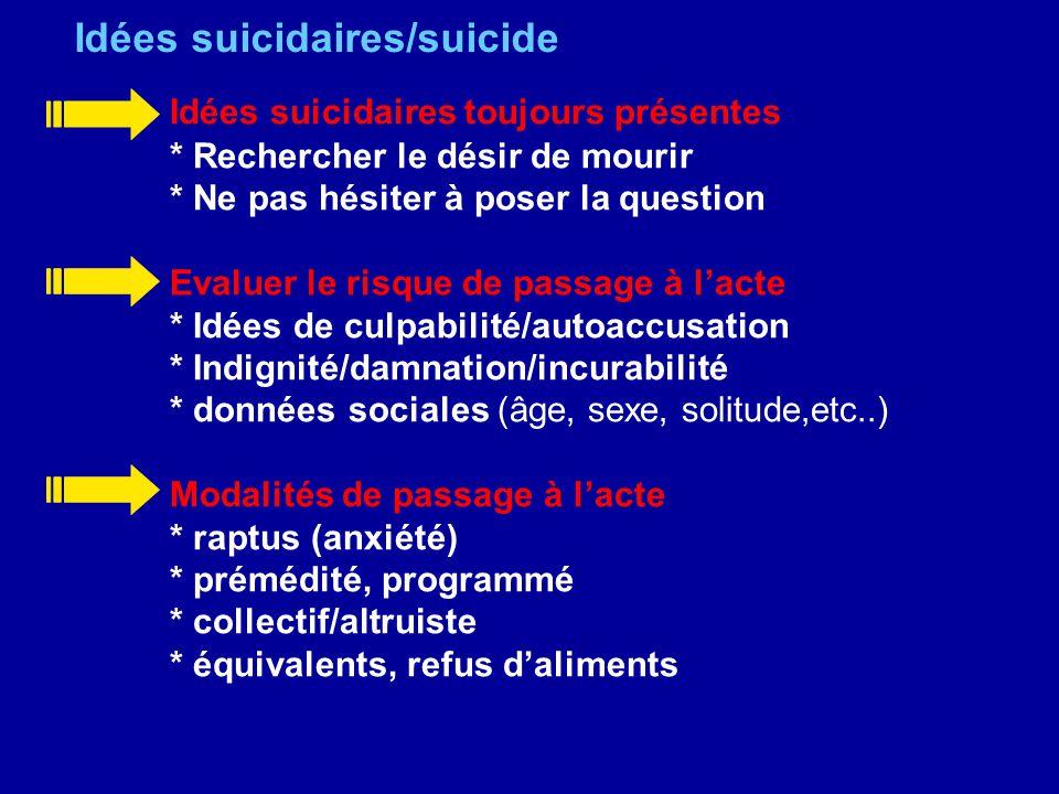 Idées suicidaires/suicide