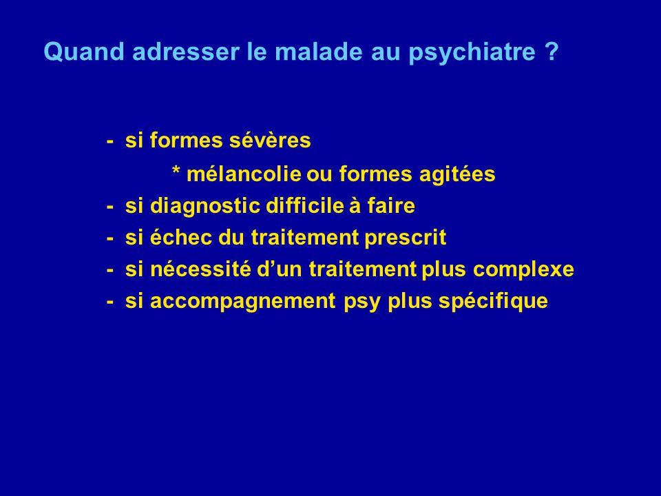 Quand adresser le malade au psychiatre