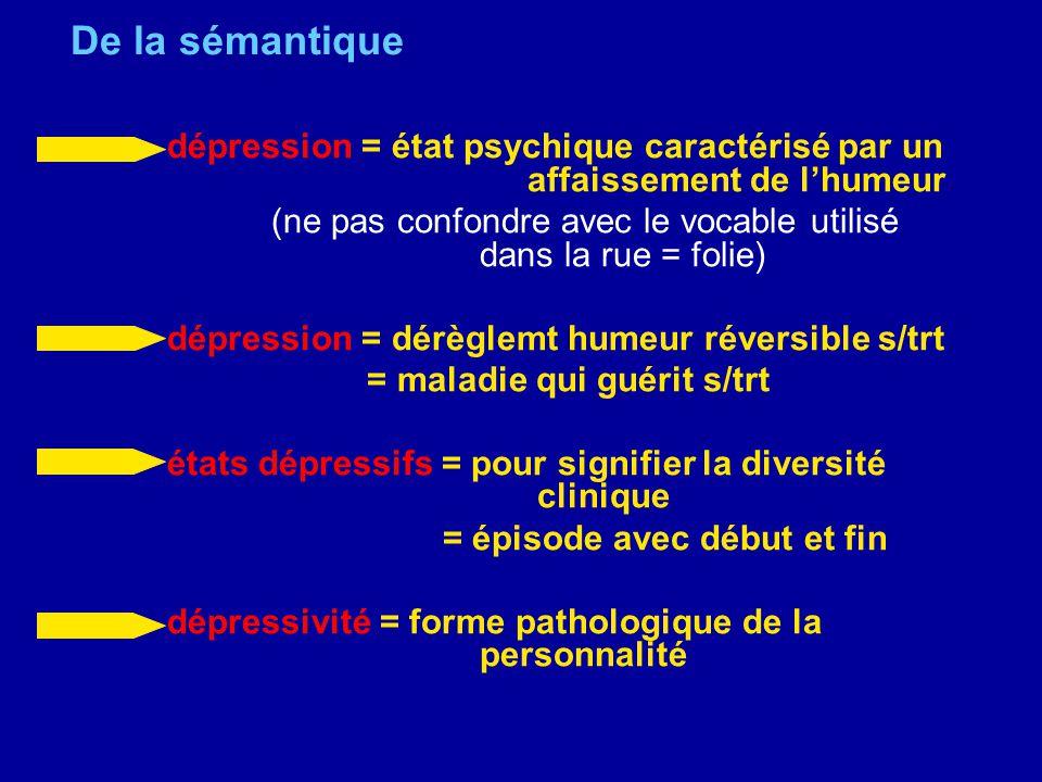 De la sémantique dépression = état psychique caractérisé par un affaissement de l'humeur.