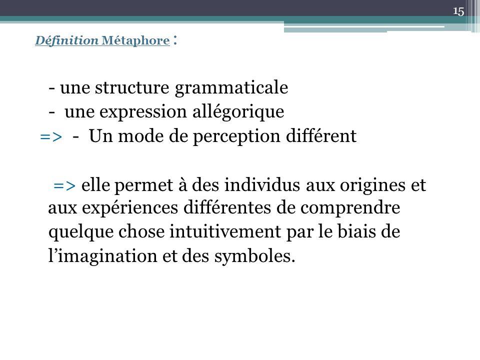 - une structure grammaticale - une expression allégorique
