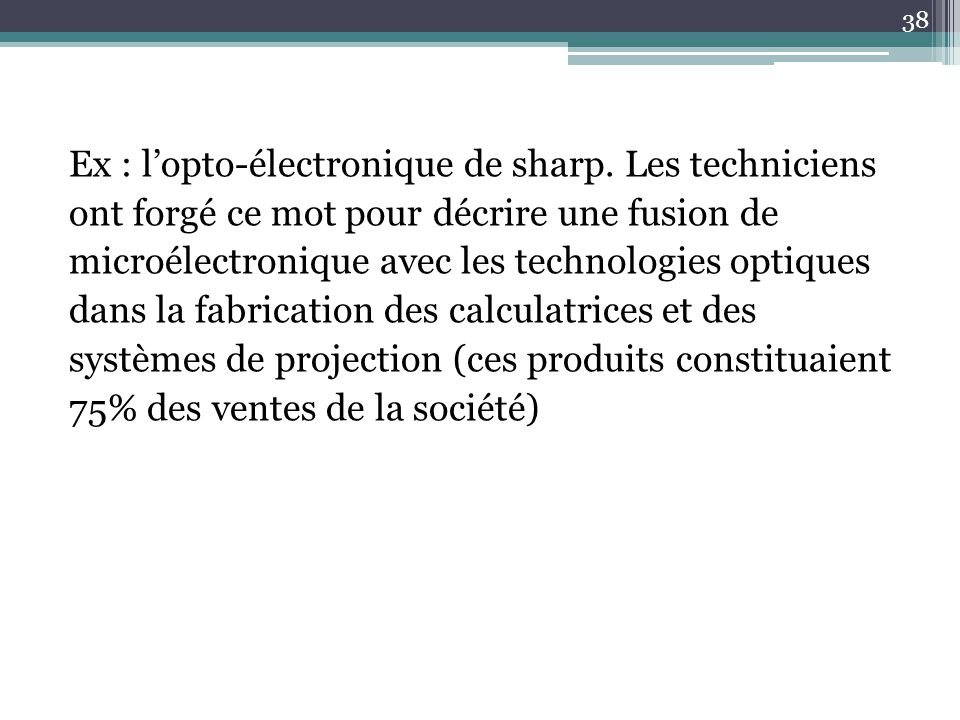 Ex : l'opto-électronique de sharp