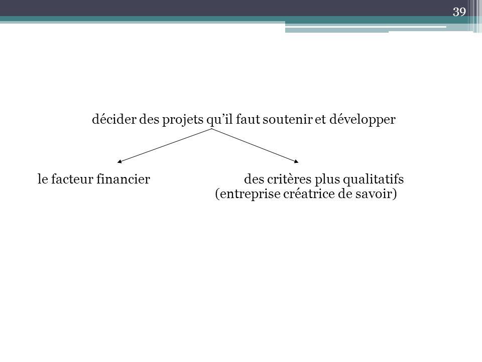 décider des projets qu'il faut soutenir et développer le facteur financier des critères plus qualitatifs (entreprise créatrice de savoir)