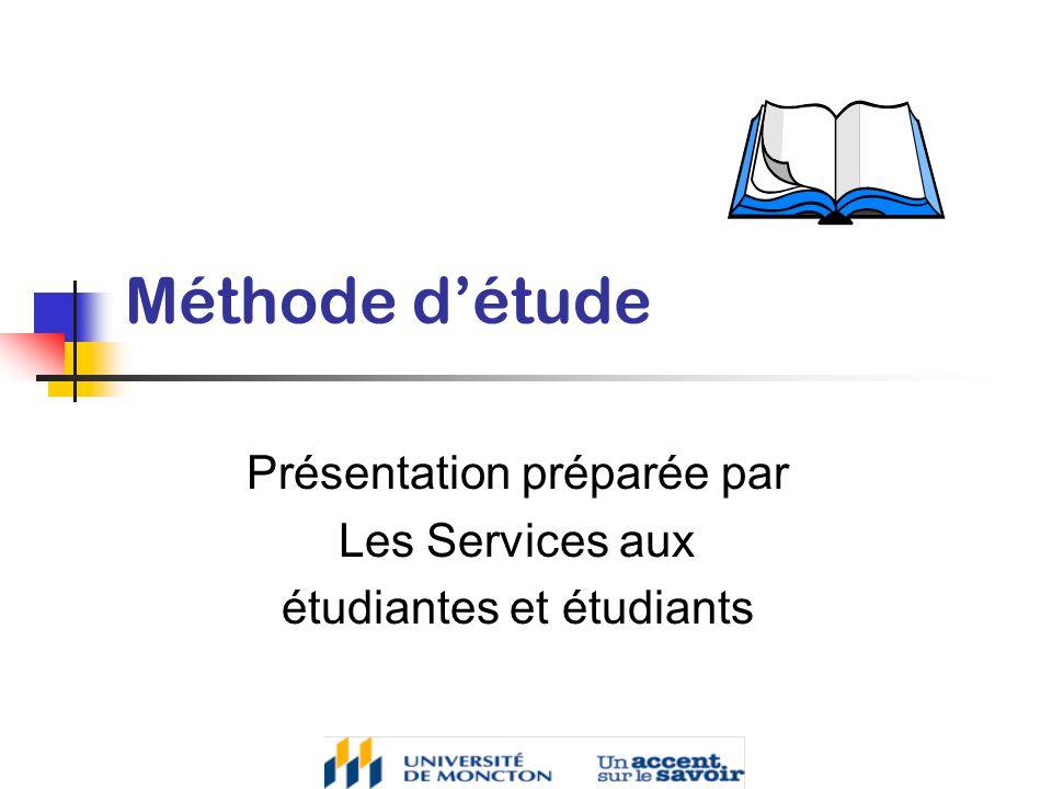 Présentation préparée par Les Services aux étudiantes et étudiants