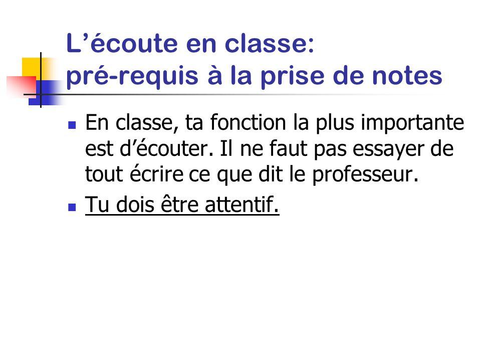 L'écoute en classe: pré-requis à la prise de notes