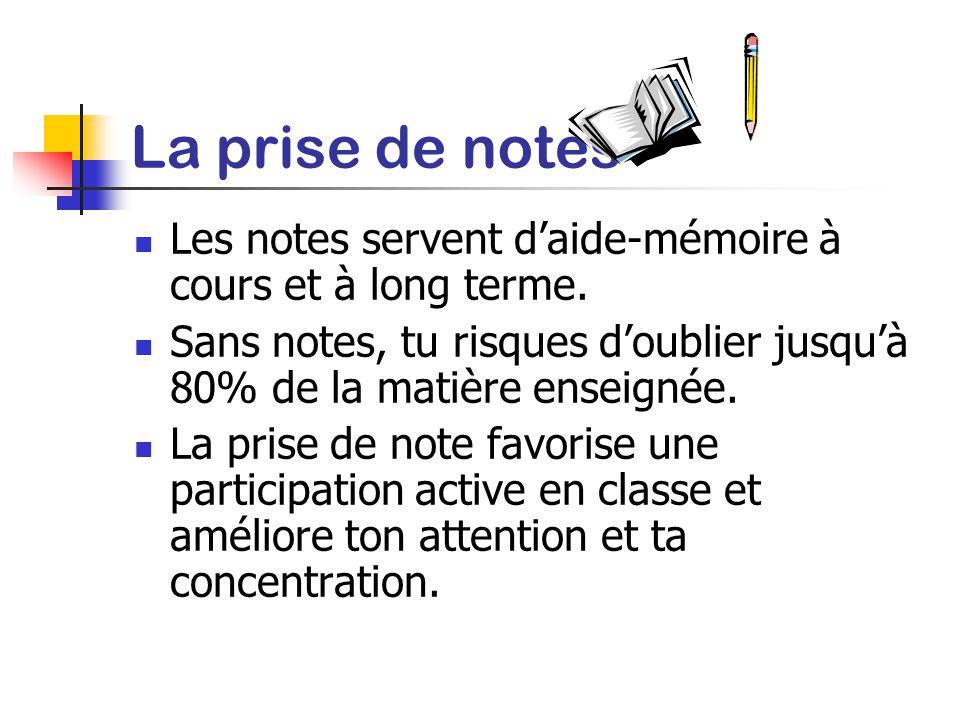 La prise de notes Les notes servent d'aide-mémoire à cours et à long terme. Sans notes, tu risques d'oublier jusqu'à 80% de la matière enseignée.