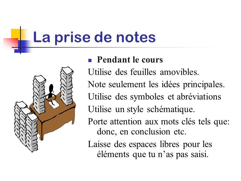 La prise de notes Pendant le cours Utilise des feuilles amovibles.