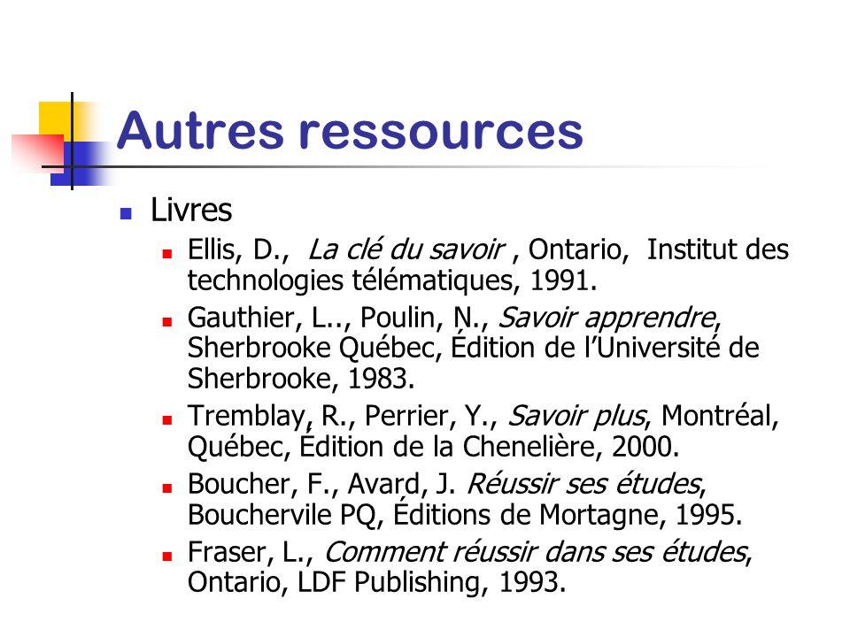 Autres ressources Livres
