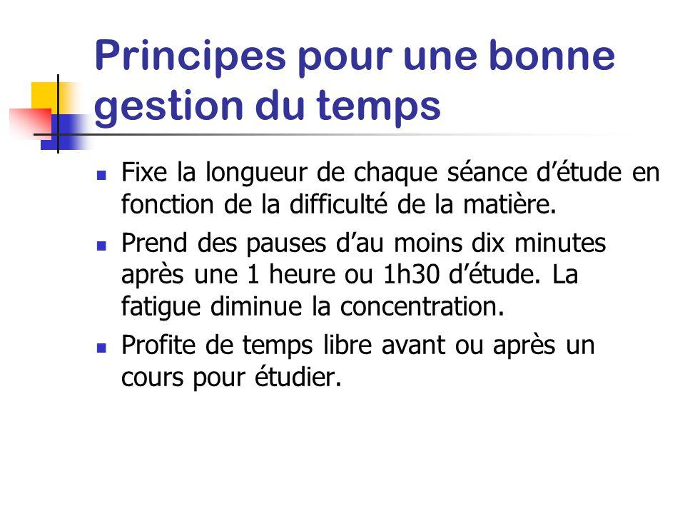 Principes pour une bonne gestion du temps