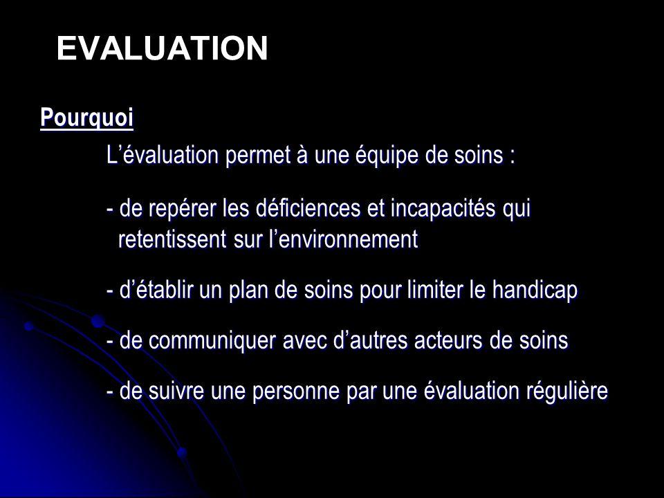 EVALUATION Pourquoi L'évaluation permet à une équipe de soins :