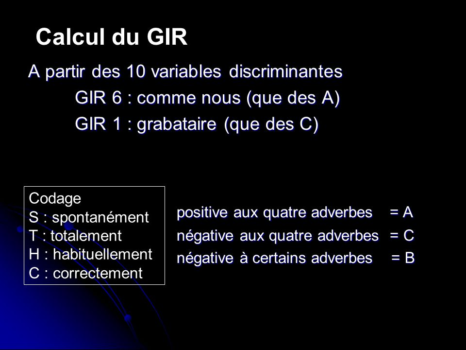 Calcul du GIR A partir des 10 variables discriminantes