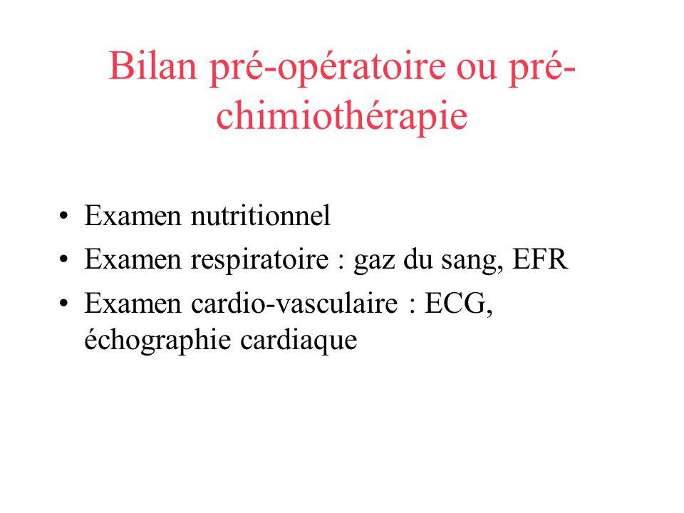 Bilan pré-opératoire ou pré-chimiothérapie