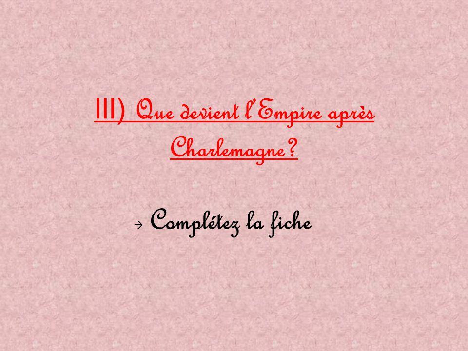 III) Que devient l'Empire après Charlemagne