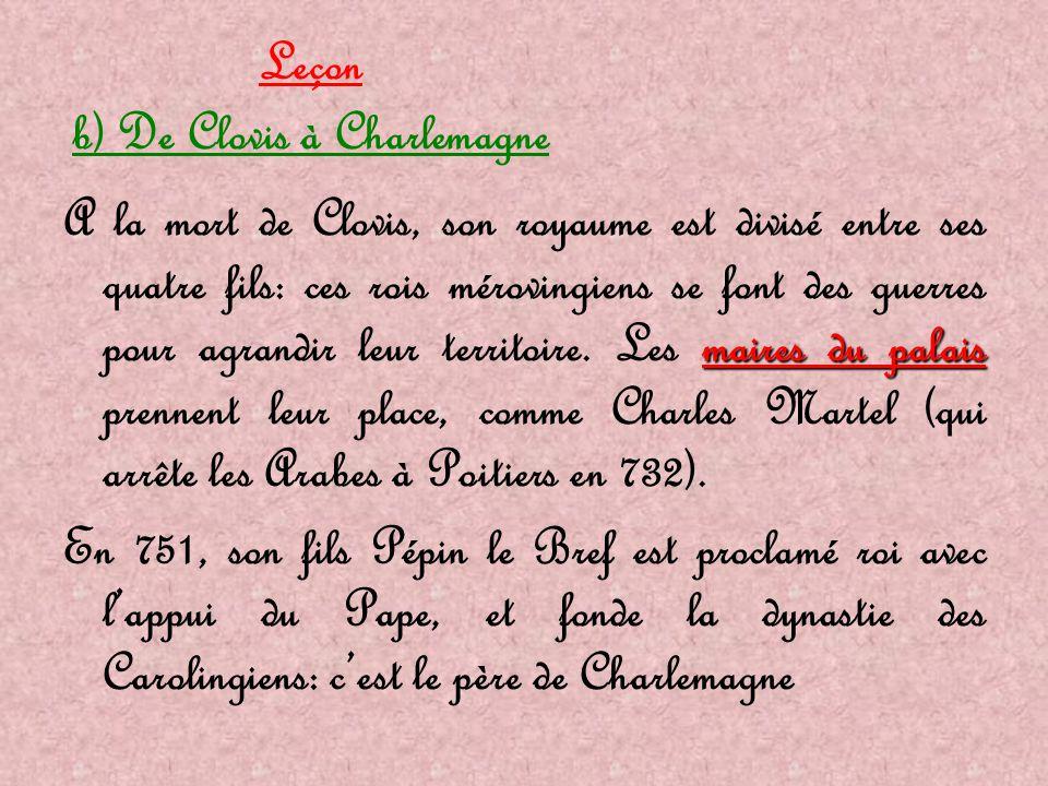 Leçon b) De Clovis à Charlemagne